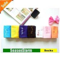 [EMS Free Shipping] Wholesale Fashion Weekday Socks Fancy From Monday To Sunday / Womens Cotton Socks (SM-40E)