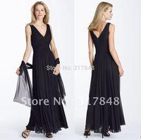 Casual custom made inexpensive black tank v neck ruffle with ribbons chiffon bridesmaid dresses BD68
