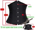 Free shipping Wholesale black sexy Full steel  corset bustier 18 root steel bone corset sexy over bust corset S-6XL 1024