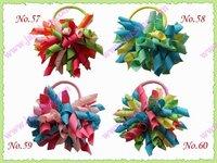 free shipping 100pcs 3 '' fashion korker  hair bow pony elastic mix color girl baby hiar pony holders