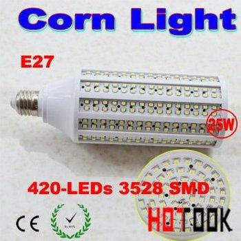 Wholesale 25w 3528 SMD E27 led Corn Lamp Lighting light with 420 leds 220V warranty 2 years CE ROHS x 25pcs  -- ship via express
