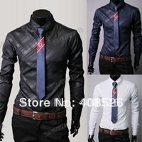 2013 Men's Fashion luxury shirts Dress Shirt twill Long Sleeve Shirts Casual Trim Slim Fit White Black navy blue M L XL XXL 5267