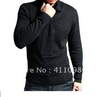 Free Shipping 1pc 100% Cotton Retro Men's Slim Sweater black,grey M-XXL Wholesale and Retail