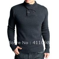 Free Shipping 1pc 100% Cotton Fashion Turtleneck  Men's long Sleeve Fshion Sweater black,DK Grey,LT Grey M-XXL Wholesale