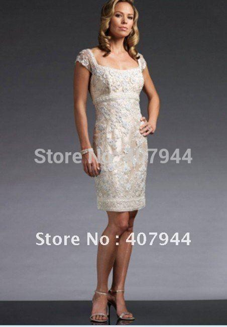 Satin ivory lace appliques sheath knee length cap sleeves beaded