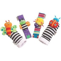 4pcs/lot- Cartoon Animal style Baby Garden Bug Wrist Rattle/Foot Finder Set/Bracelets/Infant&amp;Toddler&#39;s Socks/Baby Toys