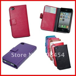 For iPhone 4 Wallet case Real leather;Newest Real Leather Wallet Case For Iphone 4G 4S;Free Shipping 50pcs/lot(China (Mainland))