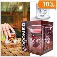 Free shipping 12 pcs Doomed Crystal Skull Shot Glass/Crystal Skull Head Vodka Shot Wine Glass Novelty Cup