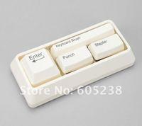 3sets Free Shipping Keyboard Stationaries Set  : Book Stitcher + Card Punch + Keyboard Brush
