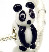 free shipping 50pcs Handmade Animal beads 925 SILVER MURANO GLASS Diy BEAD LAMPWORK  panda fit new European  Charms Bracelet D8