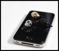 2012 cool  skeleton  dustproof plug with crystal diamond ,Anti Dust 3.5mm Earphone Jack Plug ,50pcs promotion