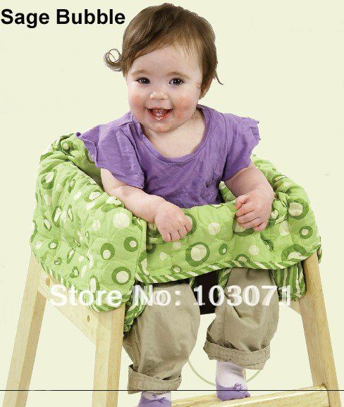 Best Selling--Baby Kid Child Toddler Feeding High Chair Cover Clean Dinner Dinning Seat Booster Cushion Pad Mat--Sage Bubble(China (Mainland))