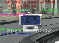 LCD Screen Digital Clock Car Indoor Outdoor Thermometer w/Alarm Clock Gift New auto accessories free shipping(China (Mainland))