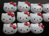 "1"" Lovely Hello kitty With Red bow FlatBack Resins Scrapbooking Embellishment 50pcs Free Shipping"