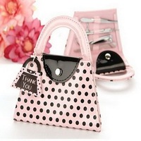 FREE SHIPPING+Wedding Favors Pink Polka Dot Purse Manicure Set +100pcs / lot(RWF-0050P)