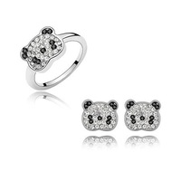 Panda fashion Jewellery Set  Kids Rhinestone  Jewelry  Finger Ring + Earring