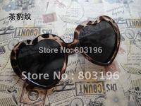 Promotion!! Most fashion Heart Shape Sunglass,Waves/Clod glass women's sunglass,free shipping 13 colors for choice, 5pcs/lot