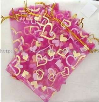 Wholesale 500pcs/lot 10x15cm Hot Pink Heart Pouch Organza Gift Bags Jewelry Packing Bag Free Shipping