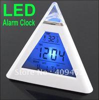 7 LED Color Pyramid Digital LCD Alarm Clock Thermometer 70059