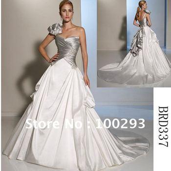 BRD337 One Shoulder Two-Tone Satin Wedding Dress