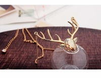 Free Shipping yellow Cute Deer Crystal 18K Gold  Plated Necklace