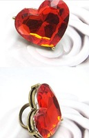 Free Shipping Exaggerated retro red peach heart large stones Finger Rings     Hot sale