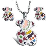 Fashion Jewelry Sets 316l Stainless Steel Little Bear Earrings & Pendants Titanium Steel Jewellery Sets Free Shipping  D004