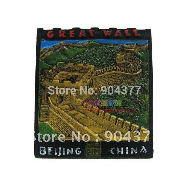 10 peça/embalagem grátis frete personalizado chineses cultura Cloisonne Metal a grande muralha barato imã cor da mistura(China (Mainland))