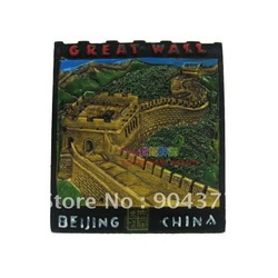 10 piece / pack Free shipping Personalized Chinese Culture Cloisonne Metal The Great Wall Cheap Fridge Magnets mix color(China (Mainland))