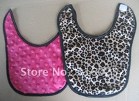 baby bibs dots pink minky with leopard,free shipping