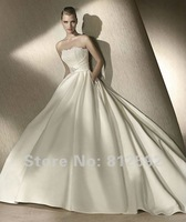 Free Shipping!!! Hot Sell White/Ivory Strapless Satin Wedding dresses Bridal Gown Custom Size/Color Wholesale/Retail
