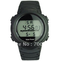 Free shipping + 2014 New Solar Power and Li-ion Battery Digital Watch with Functions of Calendar/EL Backlight/Snooze/Alarm