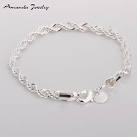 S-B207 Free shipping,wholesale,925 silver twisted bracelets,fashion jewelry, Nickle free,antiallergic,factory price