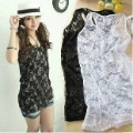 Free Shipping Fashion women Lace tank tops Sexy Transparent rose flower hollow out Slim sleeveless vest Black &White