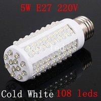 Ultra bright LED bulb 5W E27 220V Cold White light LED lamp with 108 led 360 degree Spot light Free shipping