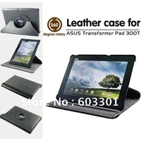 360 degree rotary leather case for Asus Transformer Pad TF300, TF300 rotating stand case, PU leather material free shipping
