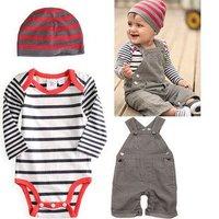 free shipping 5sets /lot  children clothing suit kids wear toddle wear  boy 3pcs suit  romper+bib pant/suspended pant+ hat