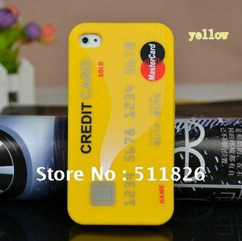 Credit Card Style Silicone Cover Case Skin For Apple iPhone 4 4G 4S Free Shipping 8310