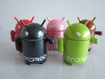5PCS/Lot Google Android Robot portable USB Mini Speaker With FM radio & TF card slot
