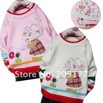 Free shipping Girl's sweater 100% cotton 3 pcs/lot Baby sweater Kids clothes Children wear CC-S-1122