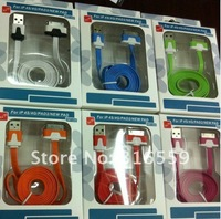 2012 HOT double-mold colorful flat cable for iphone 4s~~~100pcs free dhl....
