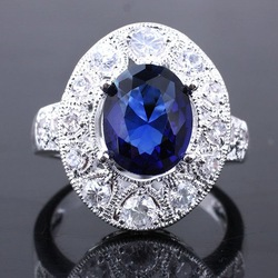 Wholesale 6 Lady 8X10 Oval Blue Sapphire Silver Ring Yin J7926 Size 8 Factory Store(China (Mainland))