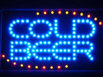 led004-b COLD BEER Bar OPEN LED Neon Light Sign