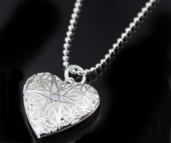 fashion style jewlery Free shipping! 925 Sterling Silver Heart Pendant Small Beads Chain Style Necklace 120(China (Mainland))