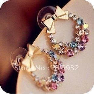 Hot wholesale! Elegant bow rhinestone ear ring, 10 pairs/lot