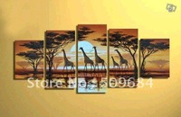 hand-painted wall art African animals giraffes home decoration abstract Landscape oil painting on canvas 5pcs/set