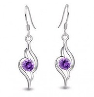 Purple crystal earrings elements, such as plastic paint fashion personality earrings 24 pairs / lot free shipping