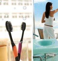 Free Shipping  Korea Nano Bamboo Anion Charcoal Health Dual Adult Toothbrush  Nano Dental Care 96pcs(4pcs/pack)   NY-034