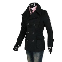 Мужской тренч Fine temperament metrosexual man short a double-breasted trench coat men with belt, double breasted jacket