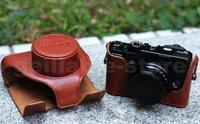 New Arrival Leather Camera Bag Case For Fujifilm FUJI Finepix X10 LC-X10 Brown free shipping